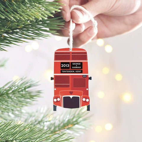 Personalised Couples London Bus Christmas Decoration