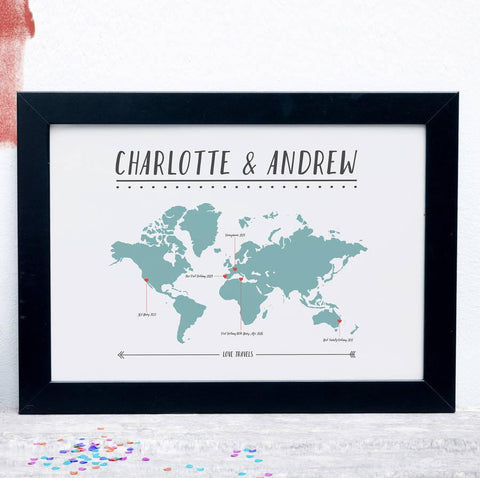 Personalised Couples Travel Map Print