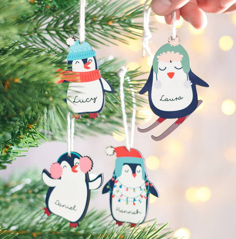 Personalised Cute Penguin Christmas Hanging Decoration