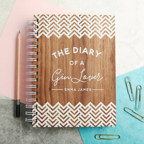 Personalised 'Diary Of A Gin Lover' Walnut Notebook