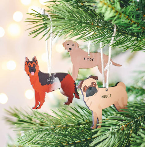 Personalised Dog Breed Christmas Hanging Decoration