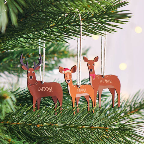 Personalised Family Deer Christmas Hanging Decoration