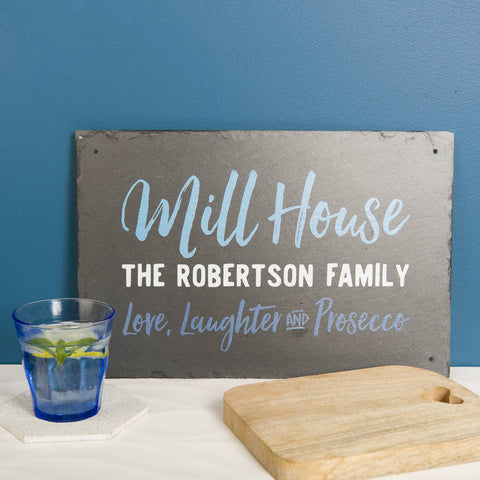 Personalised 'Family Home' Slate Sign