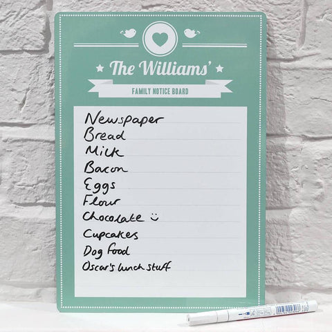 Personalised Family Notice Board Whiteboard