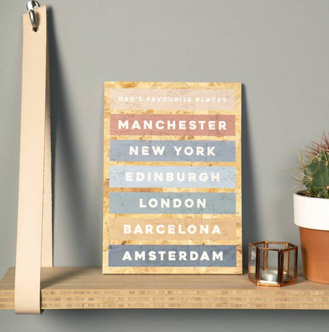 Personalised Favourite Places Wooden Print
