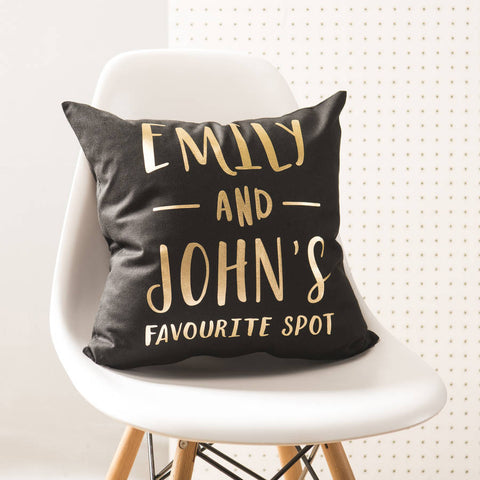 Personalised 'Favourite Spot' Black And Gold Cushion