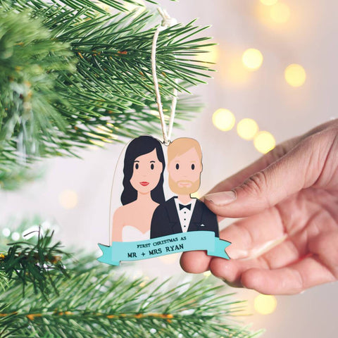 Personalised First Christmas Wedding Hanging Decoration