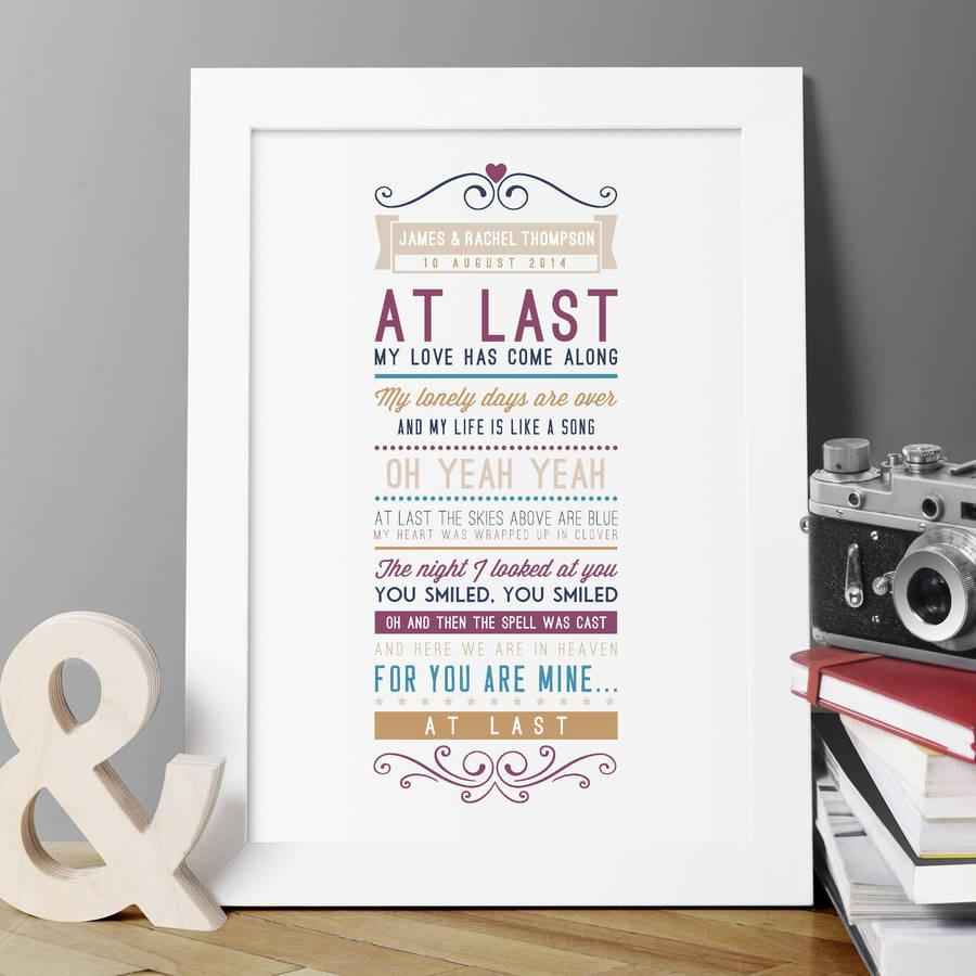 Personalised First Dance Our Dance Lyrics Photograph Print Wedding