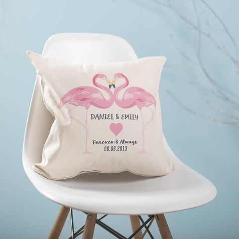 Personalised Flamingo Couples Cushion - Oakdene Designs - 1