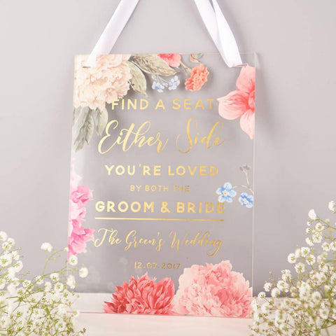 Personalised Floral And Gold Seating Wedding Signs