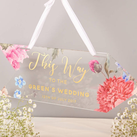 Personalised Floral And Gold This Way Wedding Sign