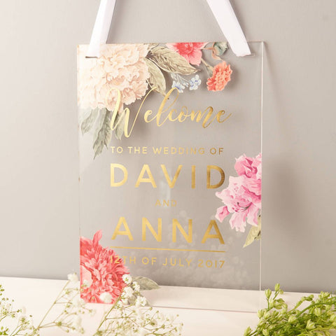 Personalised Floral And Gold Welcome Wedding Sign