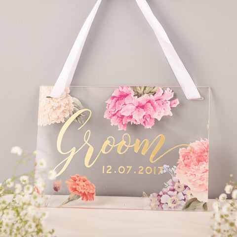 Personalised Floral Bride And Groom Wedding Signs