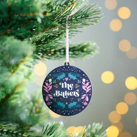 Personalised Floral Family Christmas Bauble