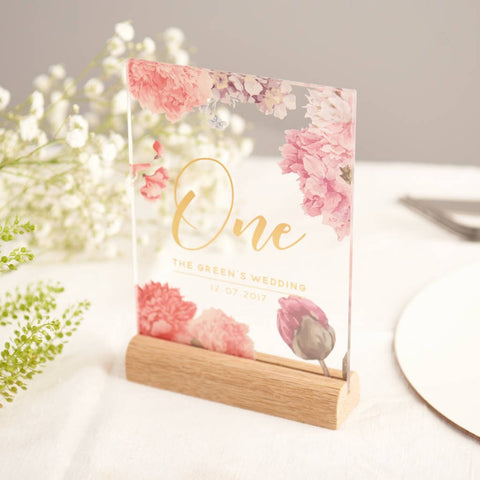 Personalised Floral Gold Acrylic Wedding Table Numbers