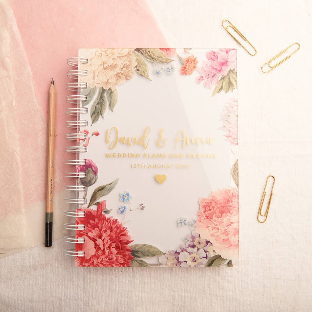 personalised floral gold wedding notebook planner