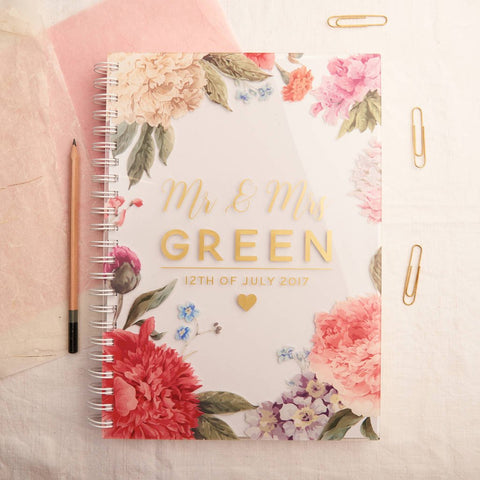 Personalised Floral Metallic Acrylic Guestbook