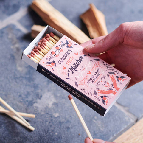 Personalised Floral Patterned Matchbox And Matches
