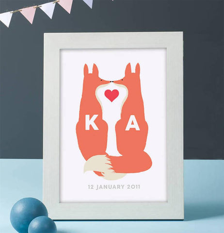 Personalised Fox Couple Print