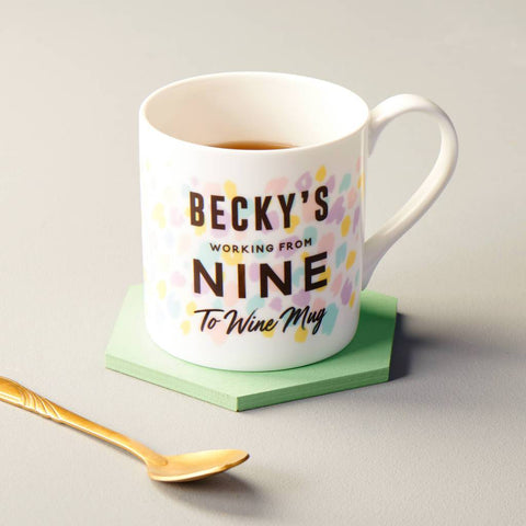 Personalised From Nine To Wine Bone China Mug