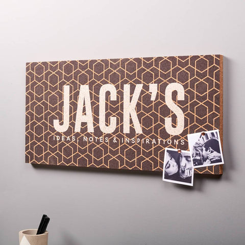 Personalised Geometric Name Cork Pin Board
