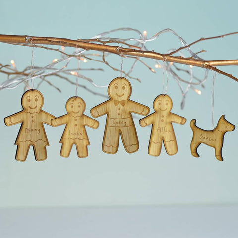 Personalised Gingerbread Family Bamboo Decorations - Oakdene Designs