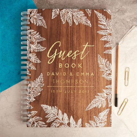 Personalised Gold Botanical Walnut Wedding Guest Book