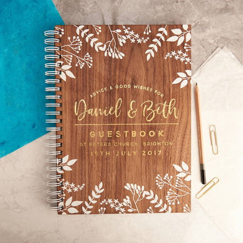 Personalised Gold Foiled Walnut Wedding Guest Book