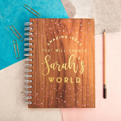 Personalised Gold Ideas Walnut Notebook