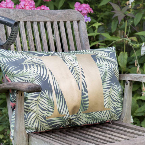 Personalised Gold Monogram Jungle Outdoor Cushion
