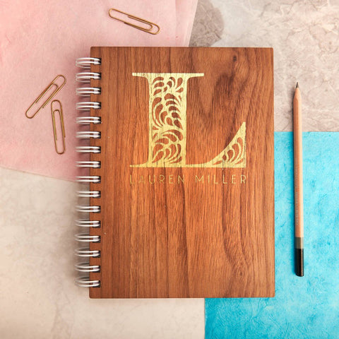 Personalised Gold Monogram Walnut Notebook