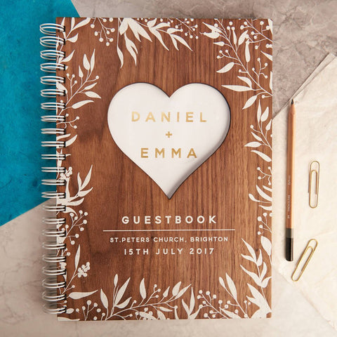 Personalised Gold Walnut Heart Wedding Guest Book