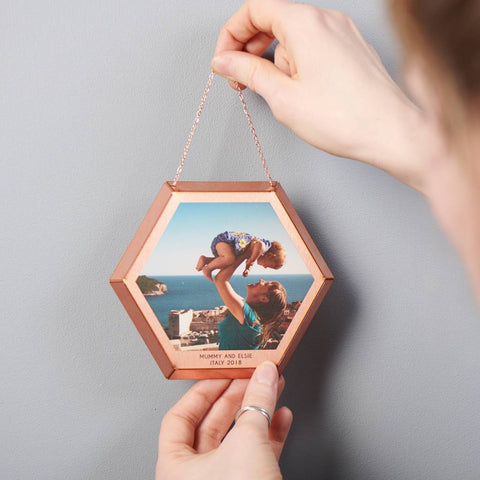 Personalised Hanging Hexagonal Copper Photo Print