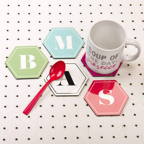 Personalised Hexagonal Monogram Coasters