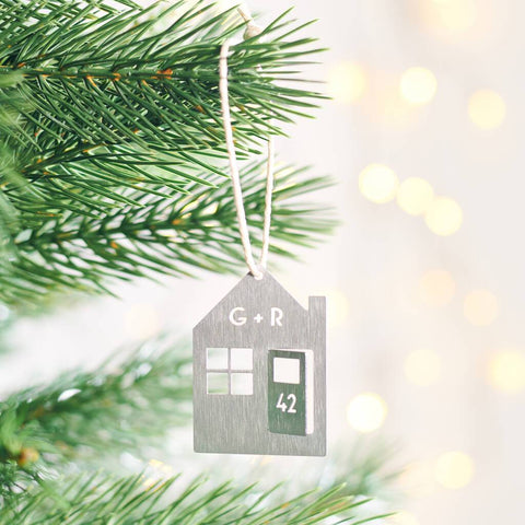 Personalised House Christmas Hanging Decoration