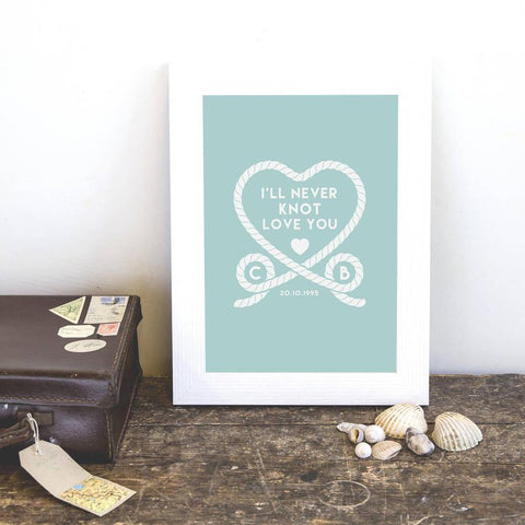 Personalised 'I'll Never Knot Love You' Couples Print - Oakdene Designs - 1