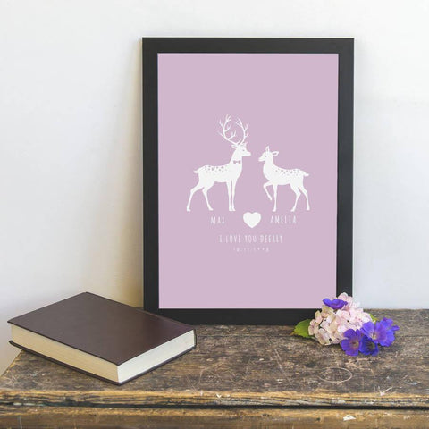 Personalised 'I Love You Deerly' Couples Print - Oakdene Designs - 2