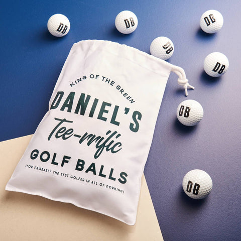 Personalised Initialed Golf Balls And Bag