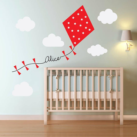 Personalised Kite And Clouds Wall Sticker - Oakdene Designs - 1