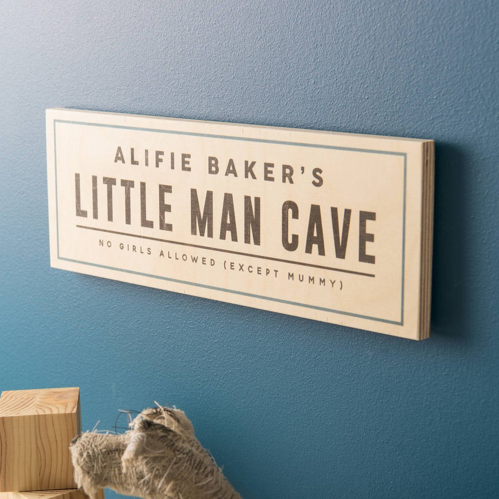 Personalised Wooden Man Cave Signs : Personalised little man cave wooden sign