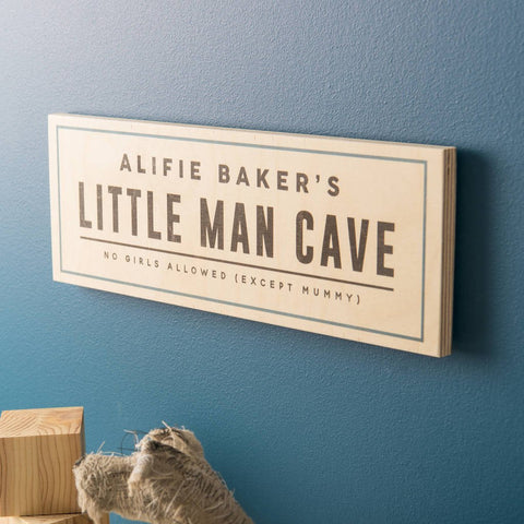 Personalised 'Little Man Cave' Wooden Sign