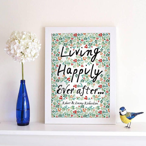 Personalised Living Happily Ever After Print - Oakdene Designs - 2