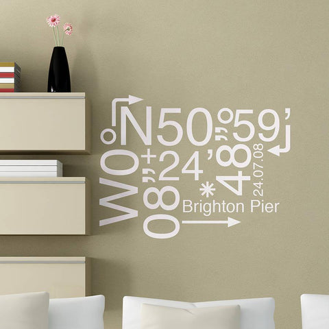 Personalised Coordinates Location Sticker - Oakdene Designs