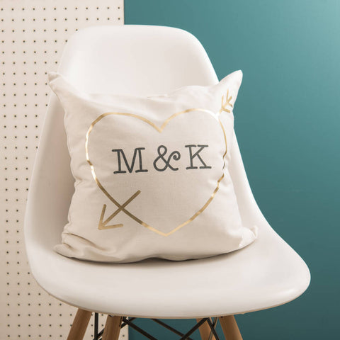 Personalised Love Heart Initials Gold Cushion