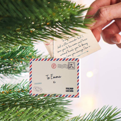 Personalised Love Letter Hanging Christmas Decoration
