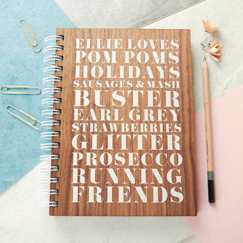 Personalised Loves Walnut Notebook