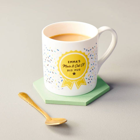 Personalised Made It Out Of Bed Bone China Mug