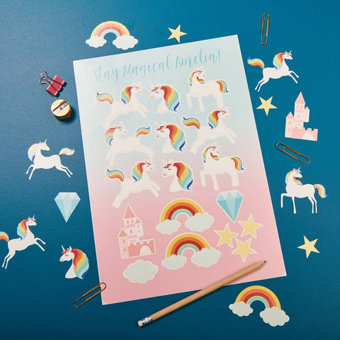 Personalised Magical Unicorn Sticker Set