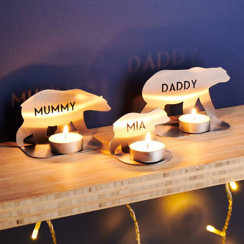 Personalised Metal Family Bear Tea Light Holders