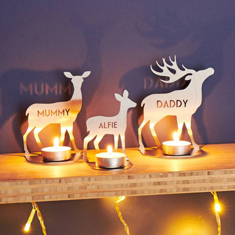 Personalised Metal Family Deer Tea Light Holders